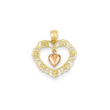14k Yellow Gold Rose Filigree Heart Pendant