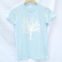 T Shirt Ladies Women's White Tree Light Blue American Apparel