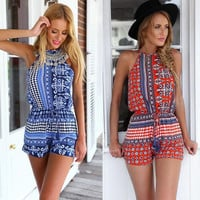 Feitong Plus Size Blue&Red Women Summer Romper Sexy Backless Bandage Jumpsuit Casual Sleeveless Beach Jumpsuits Free Shipping