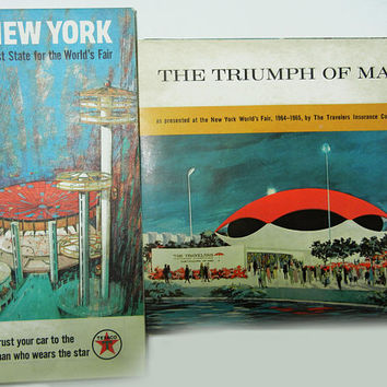 """New York World's Fair Map and Record (1960s) Vintage Map Collectible Texaco Roadmap and Record """"The Triumph of Man"""""""