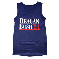 REAGAN BUSH 84 - funny cool hip retro ronald george presidents '84 1984 republican party election rnc humor new - Mens Navy Tank Top DT0028