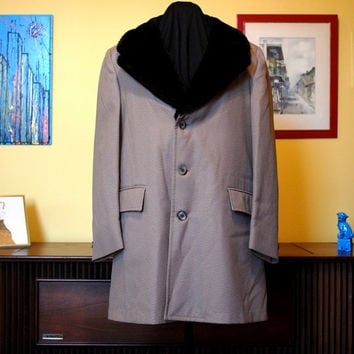 70s Winter Coat Faux Fur Collar Men's Overcoat Vintage