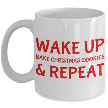Motivation Christmas Baking Morning Coffee Mug - Funny Sayings & Quotes Christmas Gift fo Mom, Grandma, Girlfriend, Sister - Hot X-Mas Cocoa, Coffee, Tea Cup, Cookies & Pencil Holder