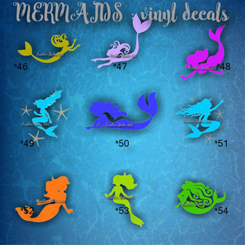 MERMAID vinyl decals - 46-54 - car window stickers - mermaid stickers - mermaids theme - car decal - custom vinyl decals - underwater