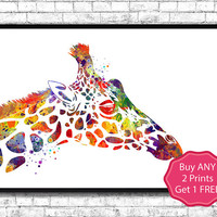 Giraffe Watercolor print Animal Wall decor Children Boy Girl Kids Baby Room Nursery Interior Decor Bedroom Children's art Giraffe poster