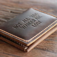 Not All Who Wander Are Lost Wallet  --- Handmade Leather Wallet by JooJoobs - Listing 036