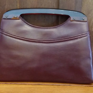 Vintage Red Brown Leather Lucite Handle Purse Clutch Evening Bag Great Retro Style