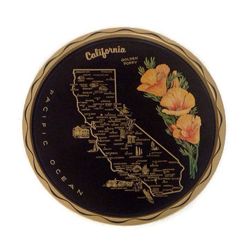 Vintage California State Tray, Tin Serving Tray, Landmarks, State Flower, Golden Poppy, Black and Gold, Wall Decor, Round Tin Tray