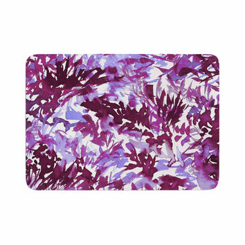"Ebi Emporium ""In The Meadow 3 - Plum Purple "" White Lavender Memory Foam Bath Mat"