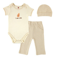 Hudson Baby Organic Sayings Bodysuit, Pant, and Cap Gift Set | Affordable Infant Clothing
