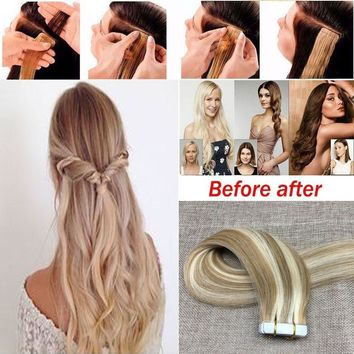 20PCS Real Hair Extensions Virgin Brazilian Hair Blonde Straight Tape In Extension 14'' To 24''