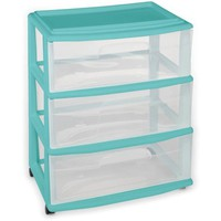 Homz 3-Drawer Wide Cart with Casters, Multiple Colors - Walmart.com