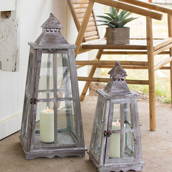 Set of 2 Nesting Wooden Lanterns with Glass Panes