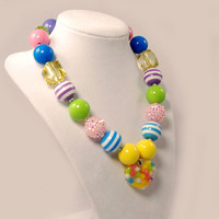 Girls Boutique Jewelry Gumball Necklace Rainbow Heart Chunky Beaded Necklace Flower Necklace