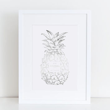 Silver Pineapple Chanel No5 Print, silver Pineapple, silver chanel, coco chanel, silver Pineapple, silver No5 Guest Room, Tropical Wall Art