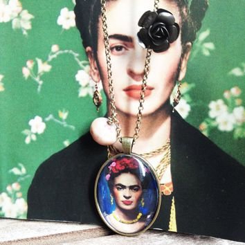Frida Necklace Bronzed Painted Frida Kahlo Jewel Pendant jewelry Glass Cabochon