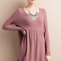 Drippy Thermal Ruffly Bottom Dress