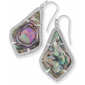 Kendra Scott: Alex Silver Drop Earrings In Abalone Shell