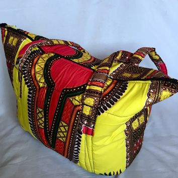 Yellow African Print Large Tote Bag