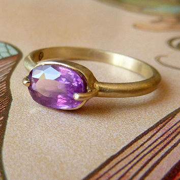 Berry Pink Oval Cut Sapphire Ring