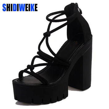 SHIDIWEIKE Brand Designer Square heel Sandals 2017 Rope Heels Women Platform Sandals Gladiator Summer Shoes Woman B626