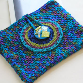 Kindle Case, Ipad Case, Crochet, Acrylic Yarn, Cotton Bamboo, Polymer Clay Closure, Turquoise, Copper, Greens