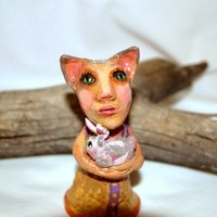 Isabel the Cat Lady Polymer Clay Figurine - Folk Art Sculpture