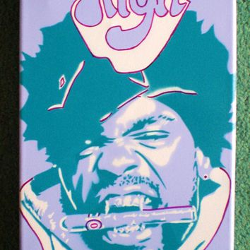 Method Man painting,purple,canvas,stencil art,spray paint art,hip hop,rap,Wu tang clan,urban,music,superfly,super high,bedroom,living,graf