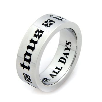 Pour Tous Jours, For All Days French Poesy Stainless Steel Ring 6-9