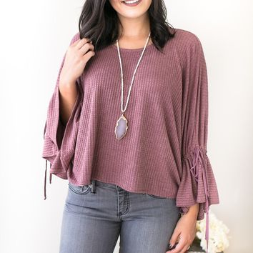 Flowing Melody Mauve Boatneck Waffle Knit Sweater