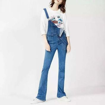 DCK9M2 Autumn Casual Slim Denim Pants Overalls Women Stretch Skinny Flare Pants Trousers European Style Long Pants Jeans EM1634-0827