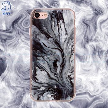 KRY 5.5 inch Painted Fundas Phone Cases For iPhone 8 Case Soft TPU Stone Marble Texture Back Cover For iPhone 7 Cases Capa Coque