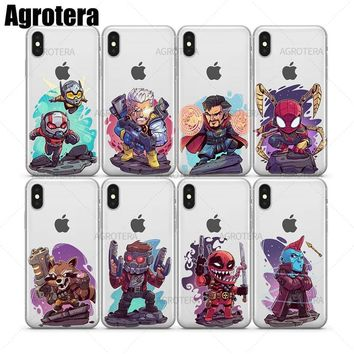 Agrotera Clear TPU Case Cover for iPhone 6 6s 7 8 Plus X Rocket Raccoon Star-Lord Venompool Yondu Ant-Man and the Wasp