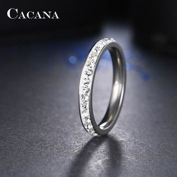 Stainless Steel Rings Small CZ Surround Jewelry NO.