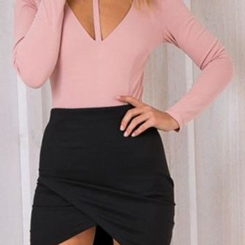 Smoke And Mirrors Pink Long Sleeve Mock Neck Plunge V Cut Out Bodysuit Top