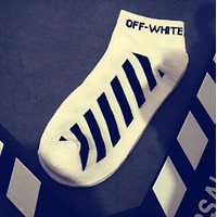 OFF-White Popular Women Men Casual Cotton Stripe Letter Print Sport Socks Ship Socks White