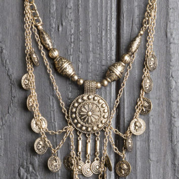 Gypsy Coin Medallion Necklace