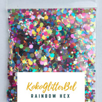 Holographic Glitter Hex- Rainbow