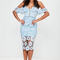 Missguided - Blue Strappy Frill Lace Midi Dress