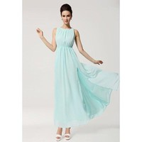 Sky Blue Bohemian Sleeveless Chiffon Maxi Dress