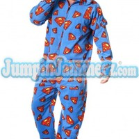 Superman Adult Footed One Piece Pajamas W/ Hood | JumpinJammerz.com