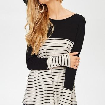 Button Stripe Top - Black