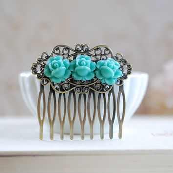 Blue Rose Hair Comb. Trio Blue Roses Brass Filigree Hair Comb. Wedding Bridal Hair Comb, Flower Girl Hair Accessory