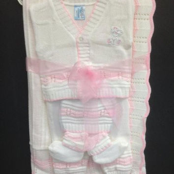 Newborn Baby Boy Girl 5 Piece Gift Set christening baptism brit mila/hat-socks-blanket-tops-pants/xs-s/3 months/pink