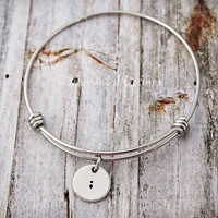 Alex Ani Style Bracelet - Semicolon - Suicide Awareness - Depression Awareness - Hand Stamped - Self-harm Awareness - My Story Isn't Over