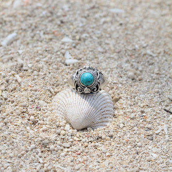 Turquoise Ring, Sterling Silver Ring Locket Ring, Boho Ring, Personalized Ring, Engraving 925 Solid Sterling Silver Handmade Ring
