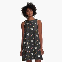 """""""Carrots and Silkie Guinea Pigs Pattern in Black Background """" A-Line Dress by Miri-Noristudio 