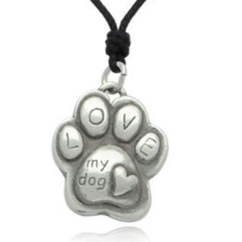 Paw Love Silver Pewter Charm Necklace Pendant Jewelry
