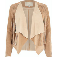 River Island Womens Light brown suede fringed jacket