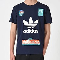 Adidas Summer Newest Round Collar Breathable Sport T-Shirt Pullover Top Blue